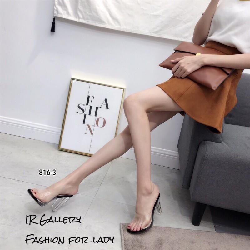 รองเท้าส้นสูงสวม หน้าใส ส้นใส 816-3-ดำ (สีดำ)