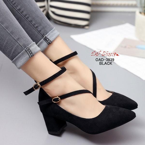 พร้อมส่ง รองเท้าคัทชูส้นสูงรัดข้อสีดำ หัวแหลม ผ้าสักหราด แฟชั่นเกาหลี [สีดำ ]