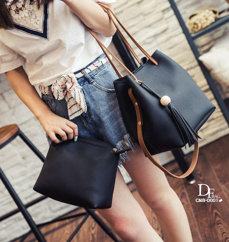 กระเป๋าสะพายแฟชั่น กระเป๋าสะพายข้างผู้หญิง ประกอบด้วยกระเป๋า2ใบ ประดับพวงกุญแจพู่น่ารัก [สีดำ ]