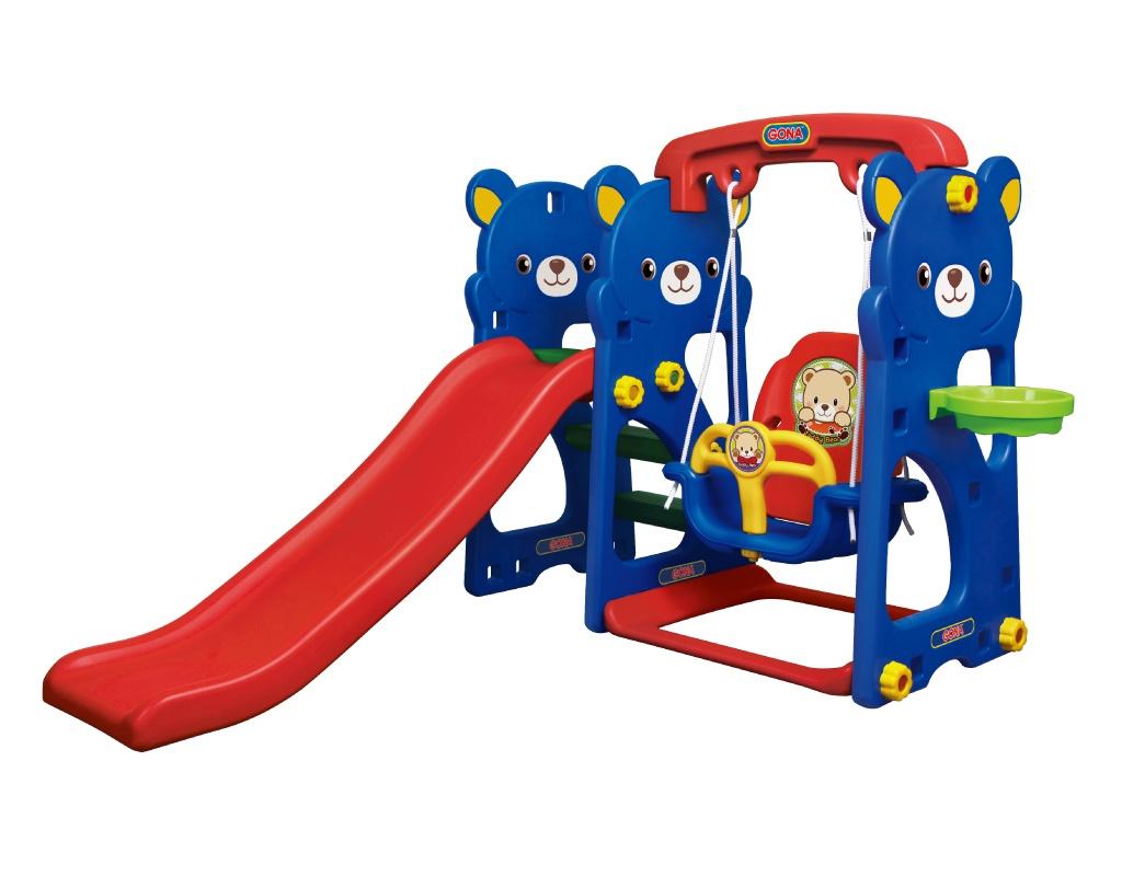 ชิงช้าสไลด์หมีสายเชือก กระดานลื่น