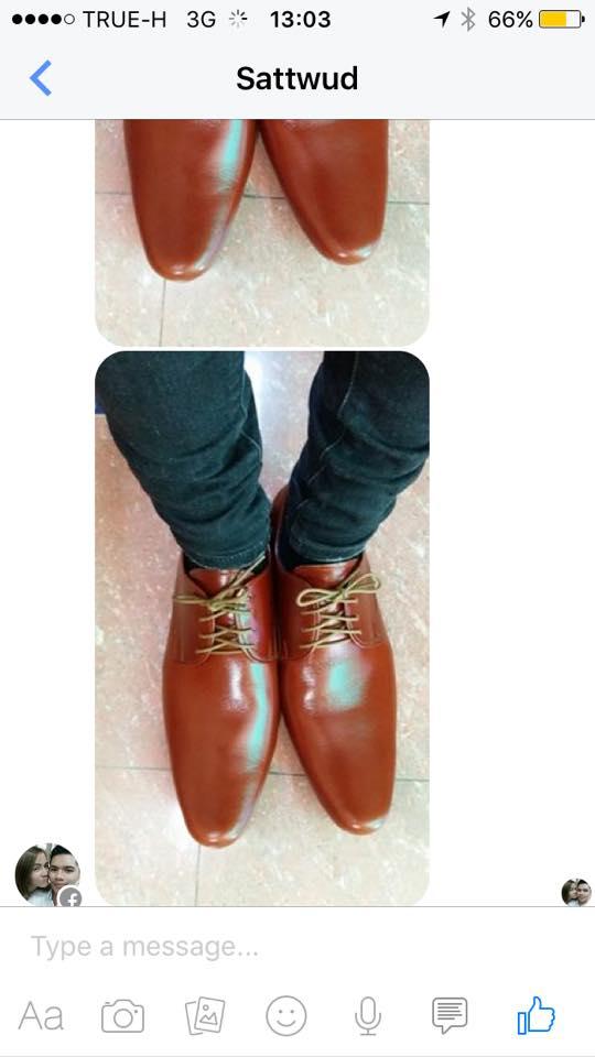 รองเท้าหนังปลายแหลม สีแทน