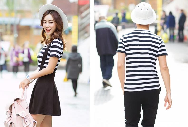 ชุดคู่รักแฟชั่นเกาหลีลายสก็อตสีขาวดำกระโปรงเอี๊ยมน่ารัก