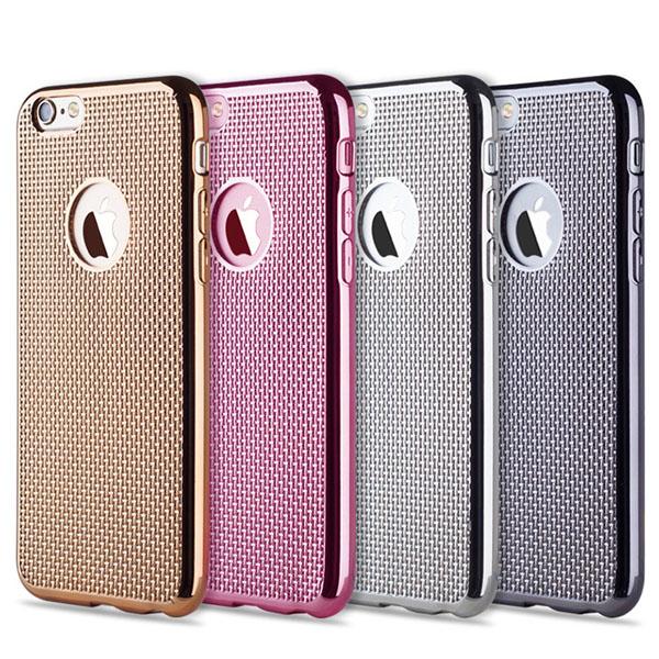 เคสยาง สีเมทัลลิค ลายผ้า - เคส iPhone 5/5S/SE