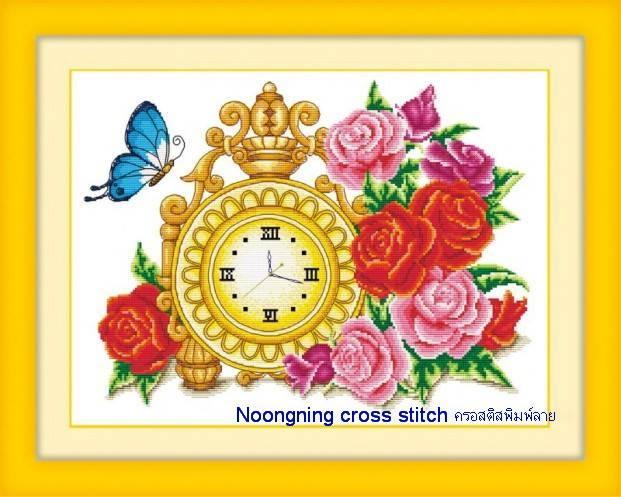 นาฬิกาดอกไม้ ชุดปักครอสติช พิมพ์ลาย งานฝีมือ