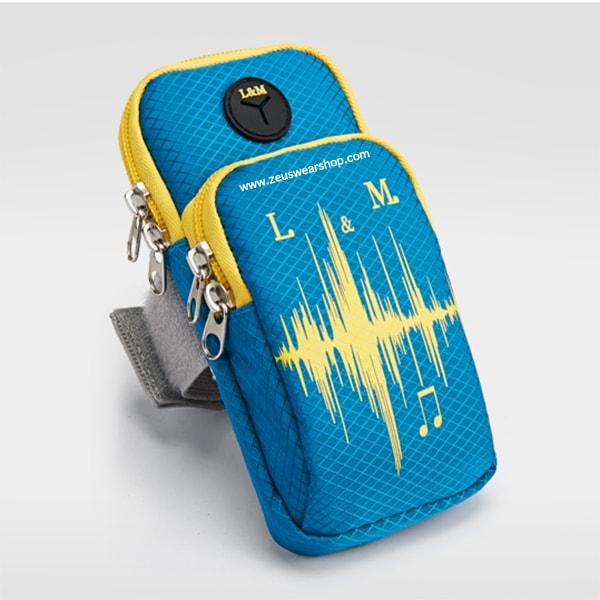 สายรัดแขนวิ่ง สีฟ้า Armband ใส่โทรศัพท์ กันน้ำ ช่องใส่ของ 2 ช่อง