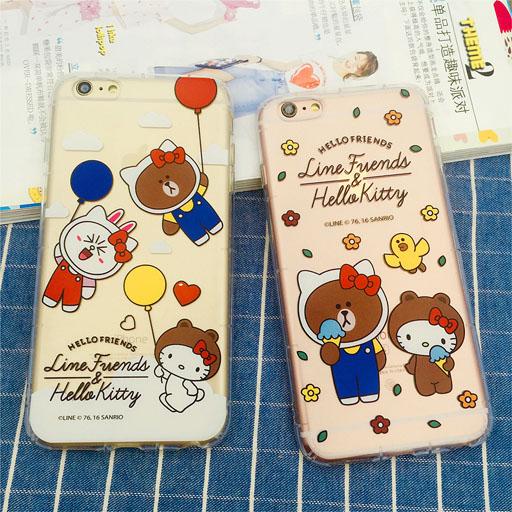 เคสยาง กันกระแทก 1.8mm Kitty & Line Friends - iPhone 7