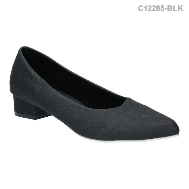 รองเท้าคัทชู ส้นเตี้ย หัวแหลม สไตล์ยุโรป (สีดำ )