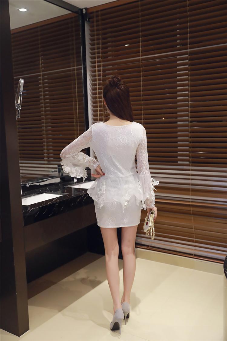 ชุดลูไม้ออกงานสีขาวเซ็กซี่แขนยาว