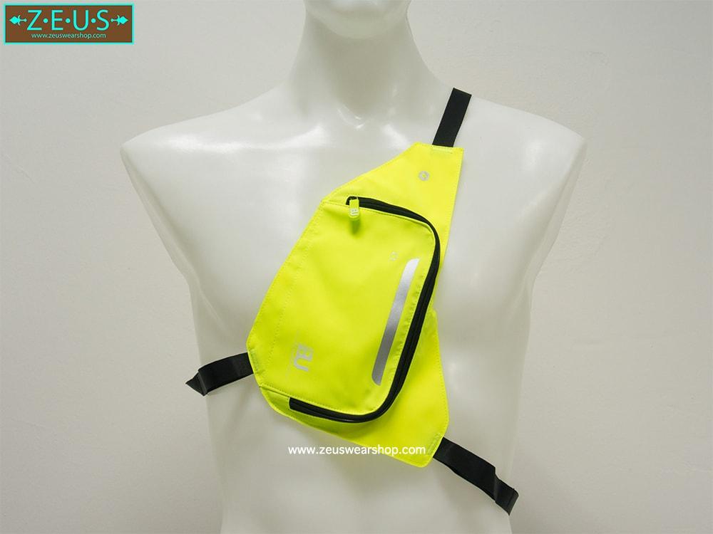 กระเป๋าใส่ของวิ่ง สีเขียว แบบมีสายรัดตัว ด้านในมีหลายช่อง กันน้ำ