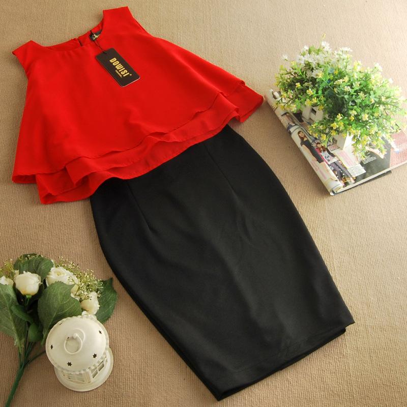 รับตัวแทนจำหน่ายชุดเดรสทำงานแฟชั่นเกาหลีสีแดงกระโปรงดำ