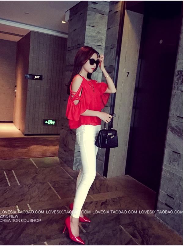 รับตัวแทนจำหน่ายเสื้อเปิดไหล่แฟชั่นเกาหลีสีแดง