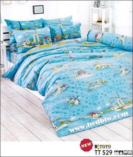 ชุดเครื่องนอน ผ้าปูที่นอน ลายกังหันลม TT529