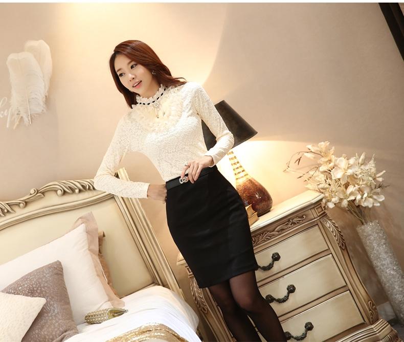 รับตัวแทนจำหน่ายเสื้อลูกไม้สีขาวแฟชั่นเกาหลีแขนยาวไฮโซสุดๆ