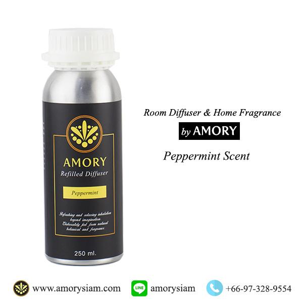 กลิ่น Peppermint 250 ml. Refilled diffuser รีฟิลน้ำหอมอโรม่าปรับอากาศ