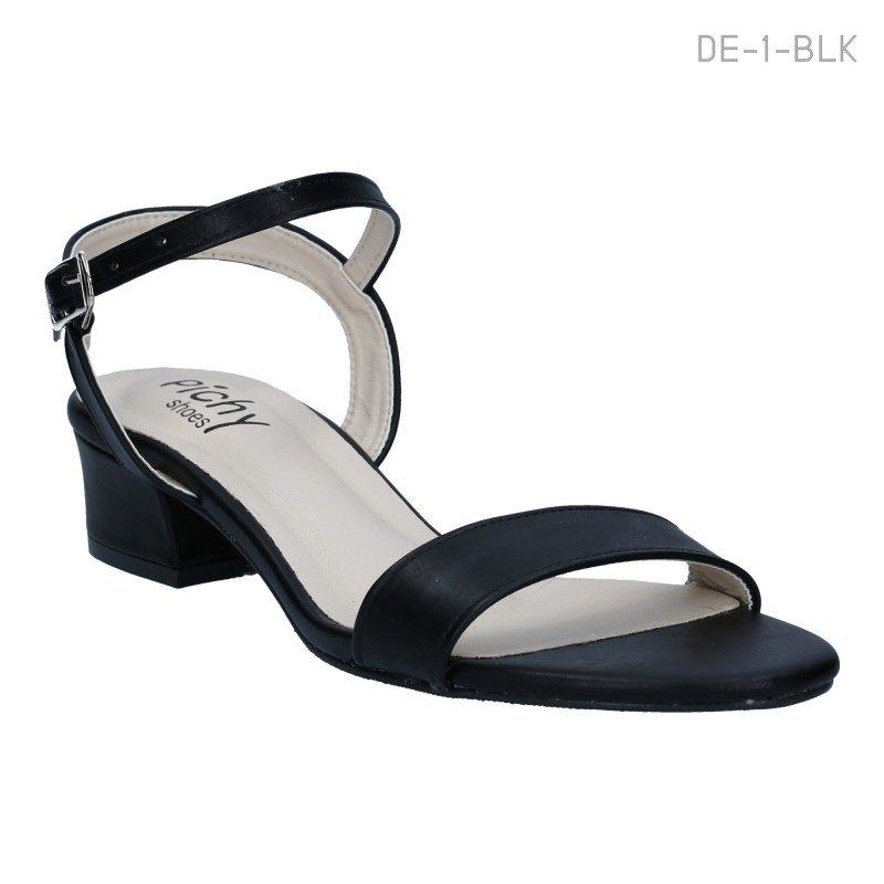 รองเท้าส้นเตี้ย รัดข้อ ใส่ลำลอง ส้นบล็อค (สีดำ )