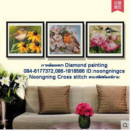 ซีรี่ย์นกและดอกไม้ ภาพติดเพชรDiamond painting