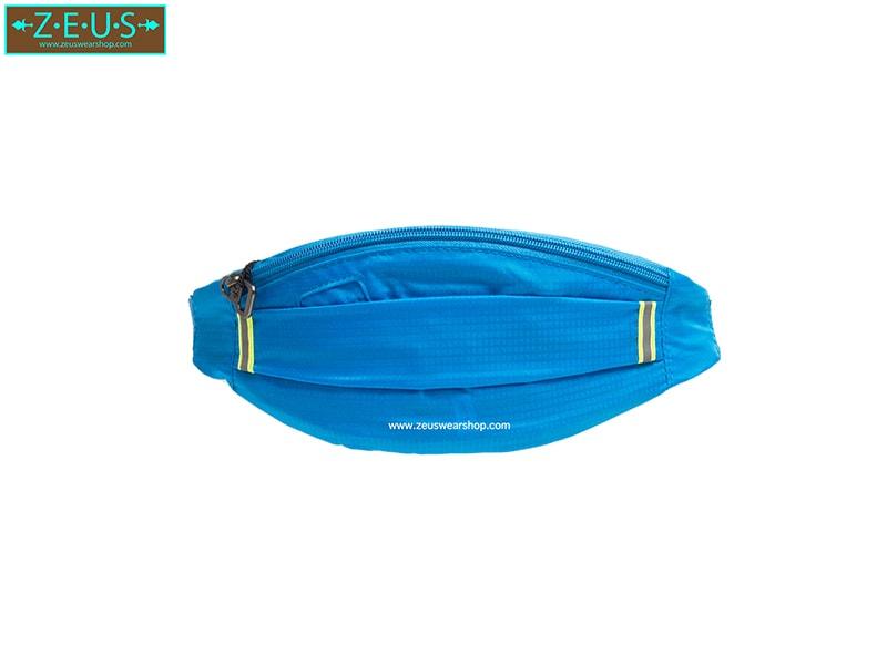 กระเป๋าคาดเอววิ่ง ผ้าร่มกันน้ำ สีฟ้าอ่อน ช่องใส่ของ 3 ซิป Size M