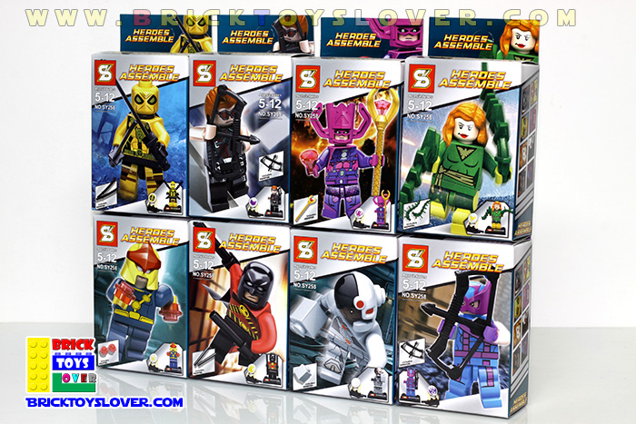 SY258 มินิฟิกเกอร์ตัวละครซุปเปอร์ฮีโร่ Marvel และ DC Comics เซ็ต 8 กล่อง