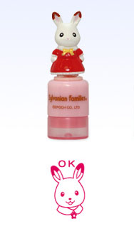 "[SOLD OUT] โมเดลกระต่ายซิลวาเนียนฐานปั๊ม ""OK"" (JP) Sylvanian Families Mini Stamp"
