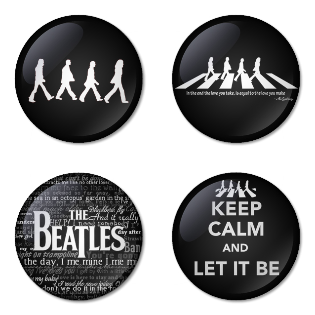 The Beatles button badge 1.75 inch custom backside 4 type Pinback, Magnet, Mirror or Keychain. Get 4 in package [8]