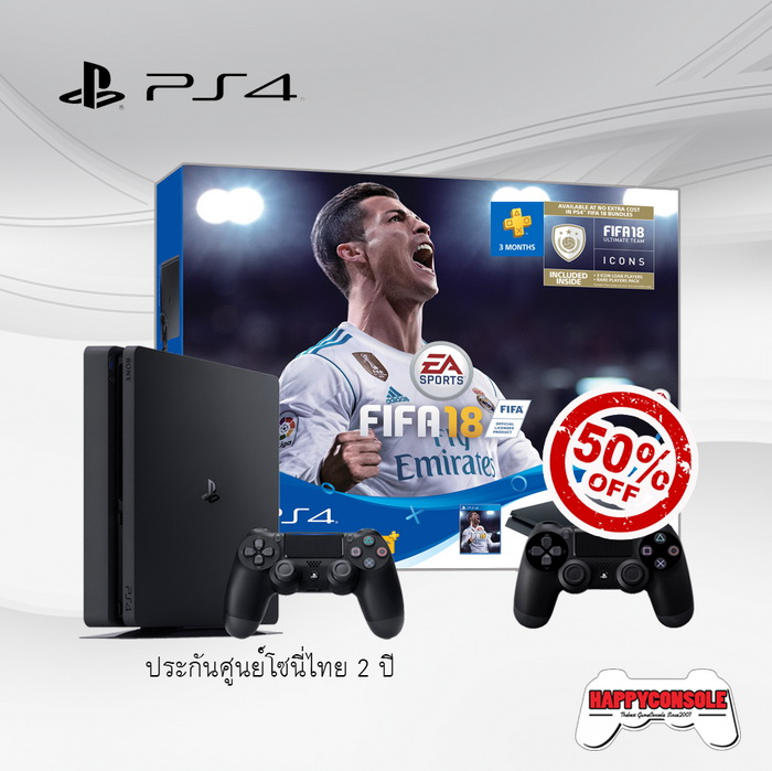 PS4 Slim 500GB FIFA18 Bundle + DualShock 4 50%Off