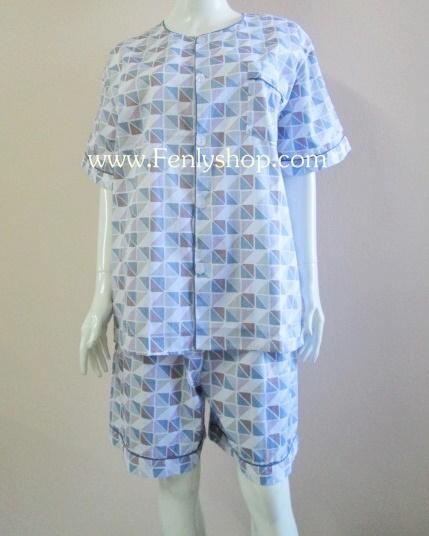 ชุดนอน(ช)กางเกงขาสั้น ผ้า Cotton เกรด เอ แบบลายกราฟฟิค วินเทจ คอกลม ฟรีไซส์ (F)