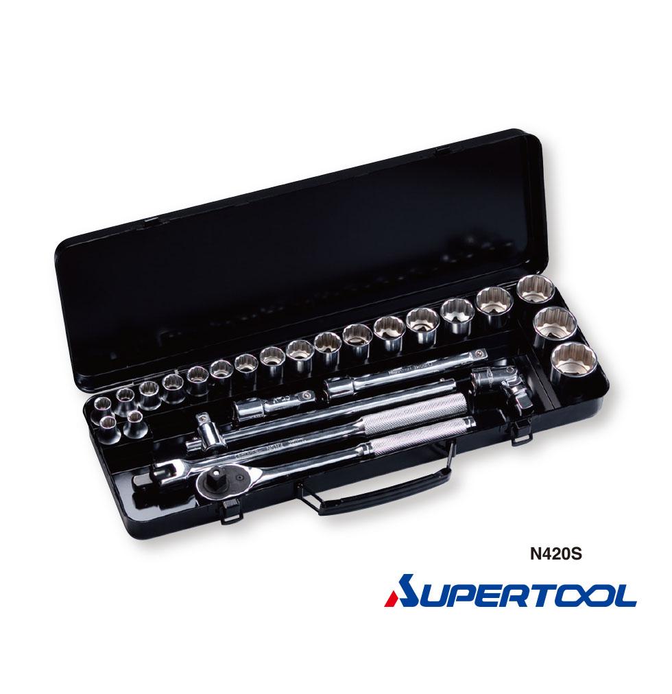 """ประแจบล็อกชุด รู1/2"""" นิ้ว (12.7mm) 26ชิ้น / Socket Wrench Set [Supertool]"""