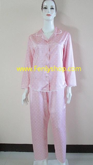 ชุดนอน(ญ)ผ้าซาตินกางเกงขายาวแขนยาว สีชมพูลายกลมขาว เสื้อรอบอก 40 นิ้ว