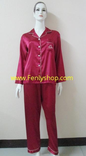 ชุดนอน(ญ)ผ้าซาตินกางเกงขายาวแขนยาว สีแดง เสื้อรอบอก 40 นิ้ว