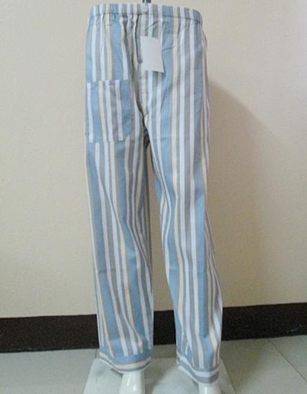 กางเกงนอนขายาว(ชาย) ผ้าคัตตอน เกรด เอ แบบลาย โทนสีเทาฟ้า ไซส์ XL