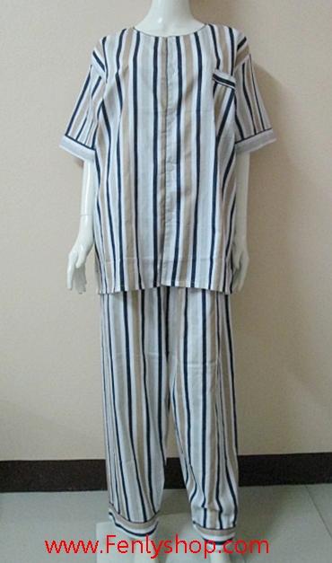 ชุดนอน(ช)กก.ขายาวแขนสั้น ผ้า Cotton เกรด เอ แบบลายทาง คอกลม ขนาดไซส์ XXL