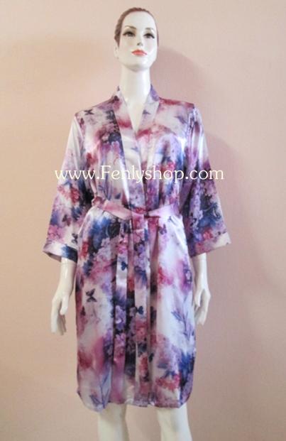 เสื้อคลุม+ชุดนอน(2 ชิ้น) ผ้าซาติน เกรด A มีคุณภาพ ดีไซส์สวย ลายผ้าสวยงาม น่าสวมใส่