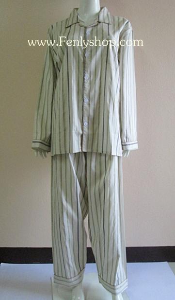 ชุดนอน(ช)กก.ขายาวแขนยาว ผ้า Cotton เกรด เอ แบบลาย สีเหลือง คอปก ขนาดไซส์ L