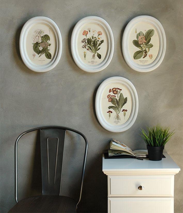 รูปพิมพ์วงรีชุดดอกไม้ Wall decor flower set