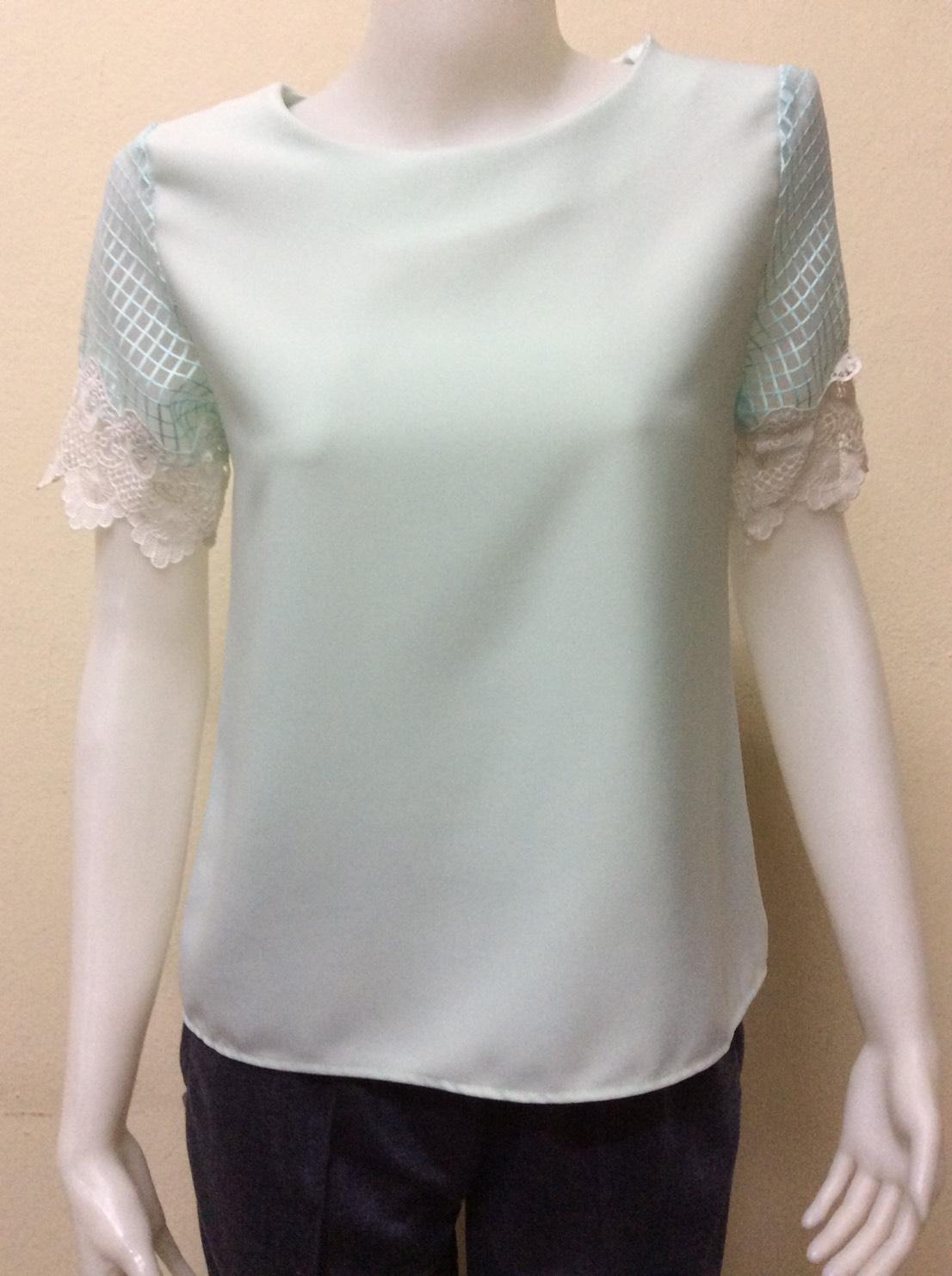เสื้อแฟชั่นเกาหลีคอกลม สีเขียว By SEVEN