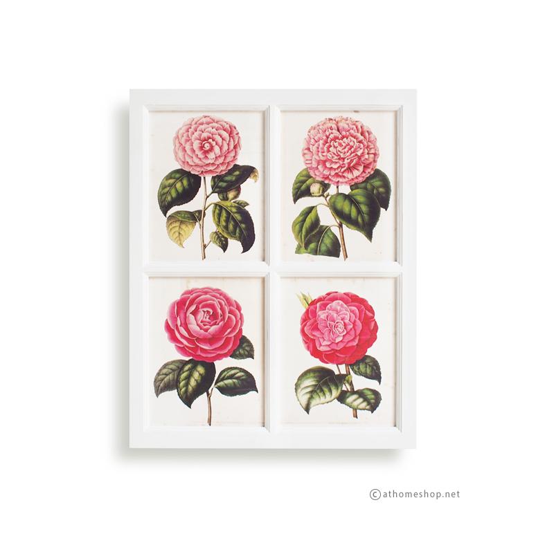 ภาพพิมพ์ลายดอกกุหลาบบาน 4 ช่อง กรอบไม้สีขาว
