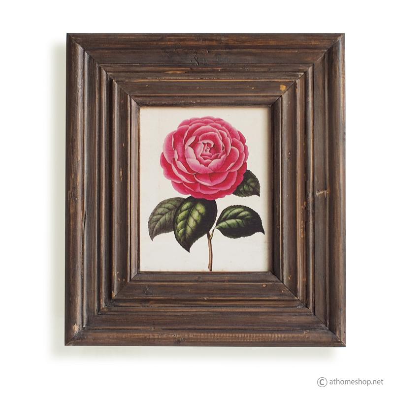 วอลล์อาร์ตพิมพ์ลายดอกกุหลาบ กรอบบัวสีไม้