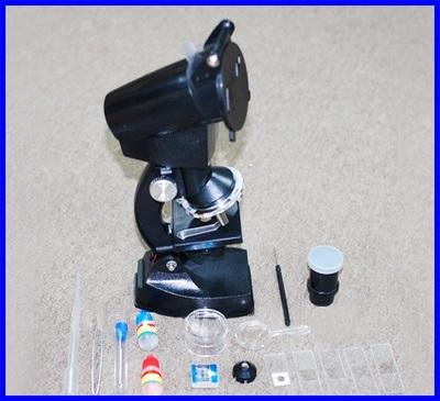 กล้องจุลทรรศน์ กล้องไมโครสโคป พร้อมอุปกรณ์ 300X 600x 1200x Projection Microscope 4-way system with light Student Microscope