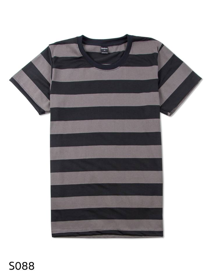 เสื้อยืดคอกลมลายทาง S088 (สีน้ำตาลช็อคบอล ใหญ่)