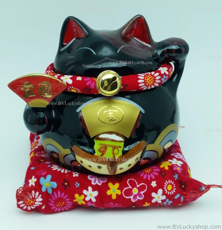 แมวอ้วน แมวกวัก แมวนำโชค สูง 5 นิ้ว ถือพัด - สีดำ [6.8-10687]