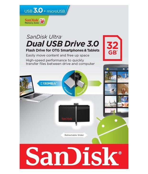 Flash Drive SanDisk Ultra Dual USB Drive 3.0 32 GB สีดำ