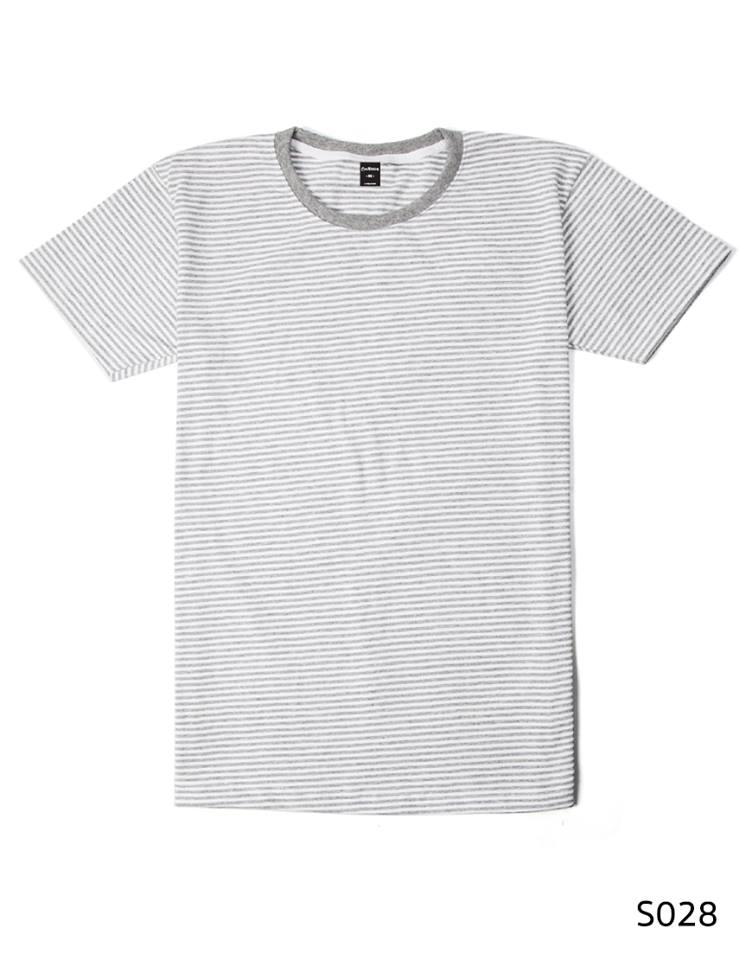 เสื้อยืดคอกลมลายทางริ้วเล็ก S028 (สีขาวเทา)