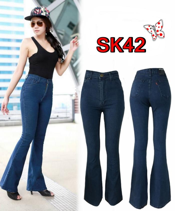 กางเกงยีนส์ขาม้าเอวสูง สีกรมเทา ช่วยเก็บหน้าท้อง เก็บทรง ยาว 41นิ้ว มี SIZE S,M,L,XL
