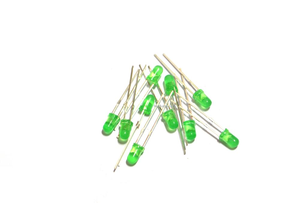 LED 3mm (สีเขียว) จำนวน 10 หลอด