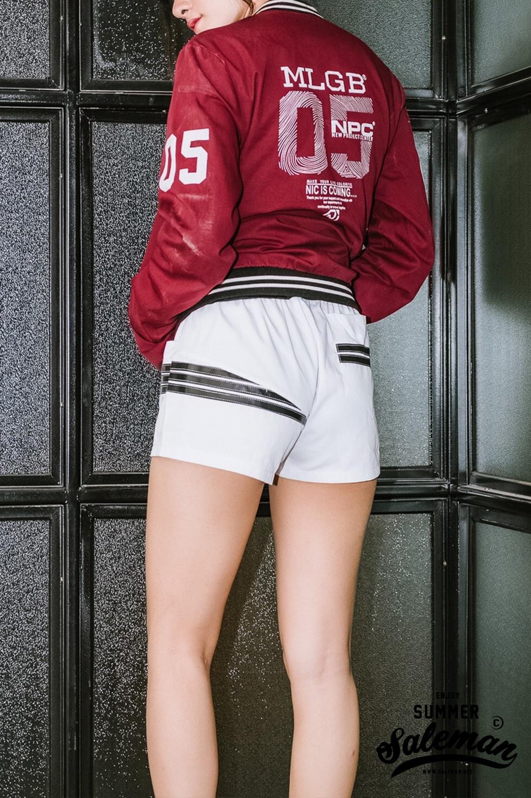 กางเกงขาสั้น พรีเมี่ยม ผ้า COTTON รหัส GT222 B สีขาว แถบดำ