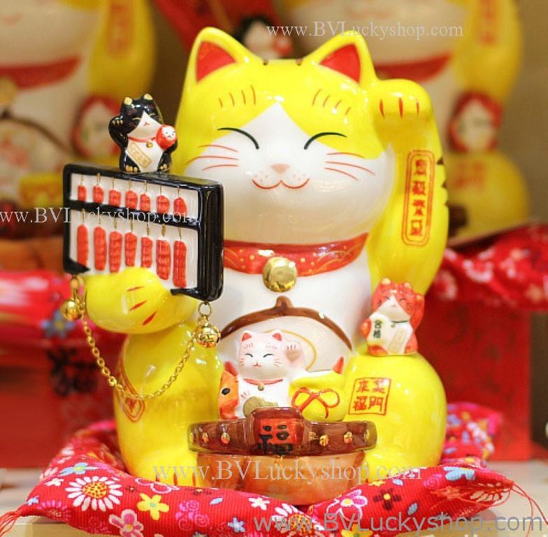 แมวกวัก แมวนำโชค สูง7.5นิ้ว ถือลูกคิด [803Y] - สีเหลือง