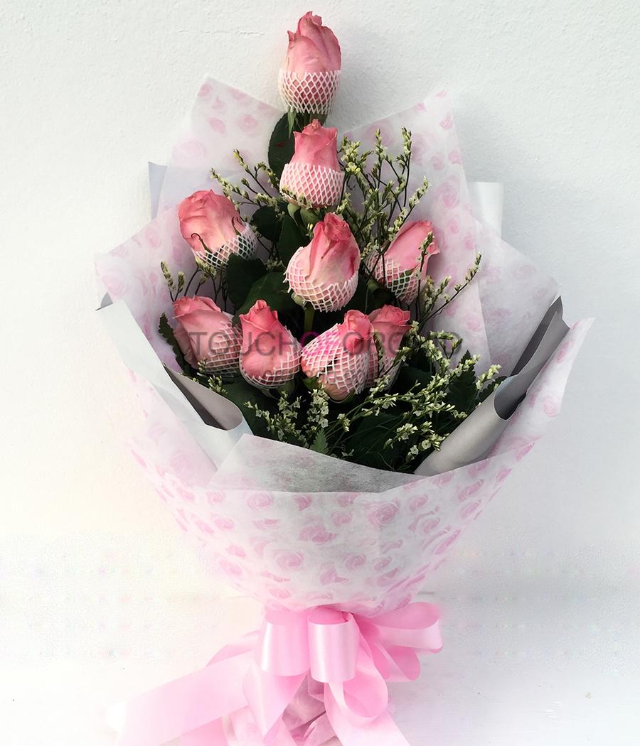 ช่อดอกกุหลาบชมพู 9 ดอก