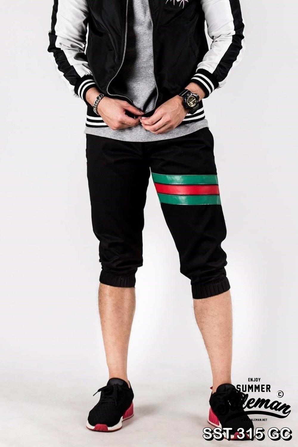 กางเกงสามส่วน พรีเมี่ยม ผ้า COTTON รหัส SST 315 GC สีดำ แถบเขียวแดง SUMMER SALE