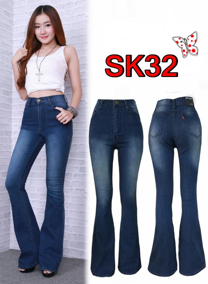 กางเกงยีนส์ขาม้าเอวสูง สีกรมยีนส์ฟอกหน้าขา ยาว 41นิ้ว มี SIZE M,L,XL
