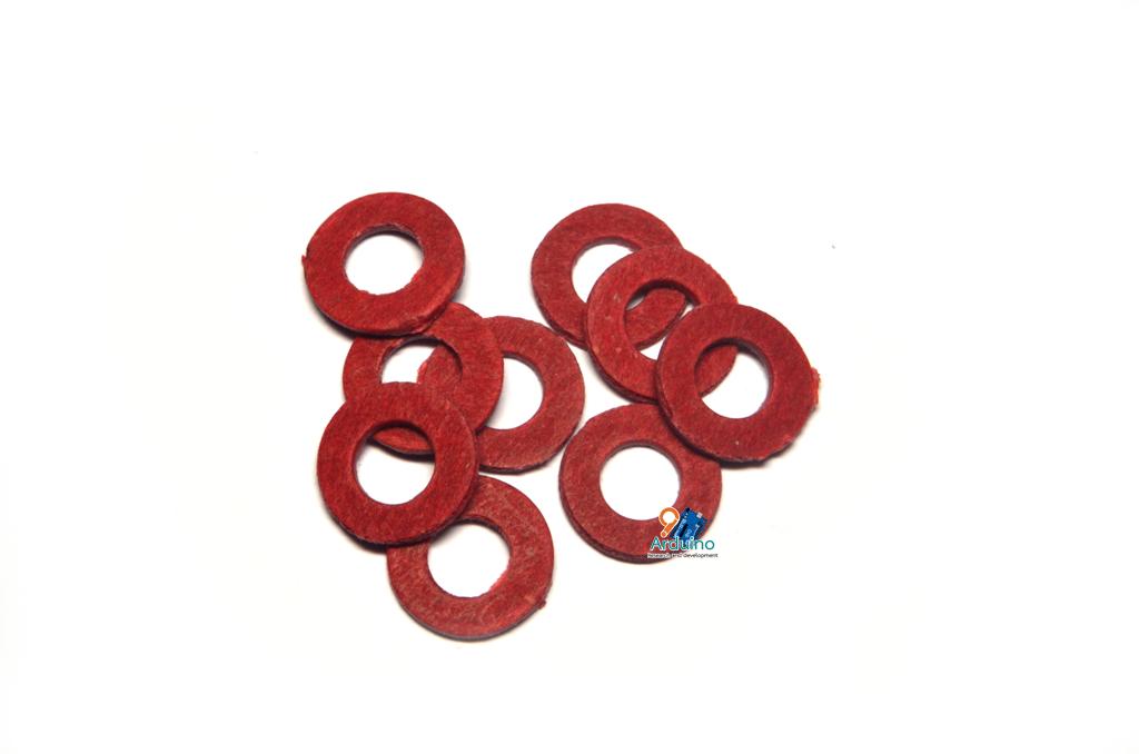 แหวนฉนวนกระดาษสีแดง รองน๊อตยึดเมนบอร์ด M5 (กันช๊อต) (10 ตัว)